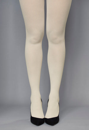 Costina Ribbed Cable Knit Tights in Cream Ivory White