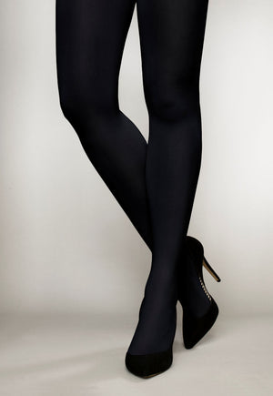 Cover 100 Den 3D Coloured Opaque Tights in Marine navy blue