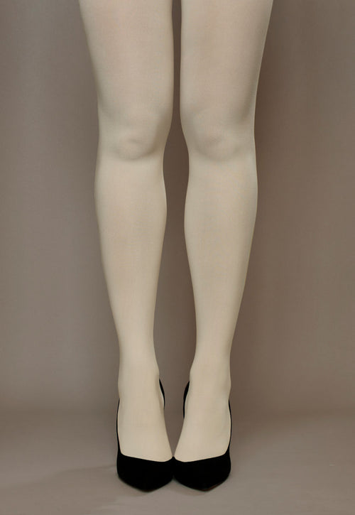 Cover 100 Den 3D Coloured Opaque Tights in Panna cream ivory white