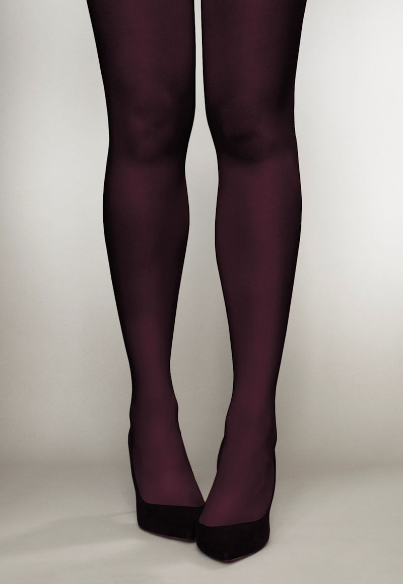 Cover 100 Den 3D Coloured Opaque Tights in Vino burgundy maroon red