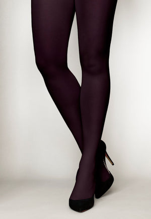 Cover 60 Denier 3D Matte Opaque Tights in Vino burgundy red