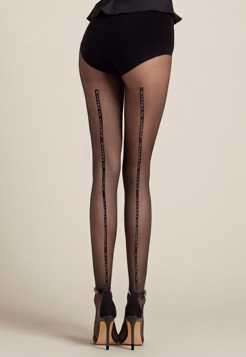 Dalida 'Pardon My French' Seamed Sheer Tights by Fiore