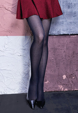 Demi 01 Herringbone Patterned Cotton Tights by Giulia in black grey