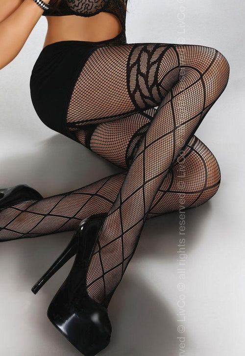 Dorit Mock Suspender Fishnet Tights by Livia Corsetti