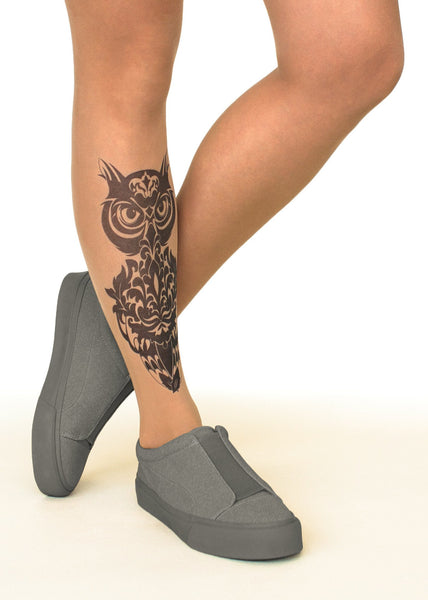 Damask Owl Tattoo Printed Sheer Tights/Pantyhose