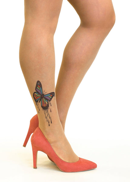 Dripping Paint Butterfly Tattoo Printed Sheer Tights/Pantyhose