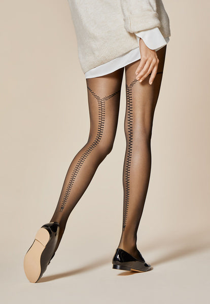 Zipped Back Seams Patterned Sheer Tights by Fiore
