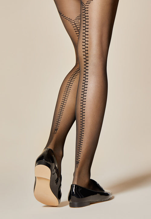 175c9dbf7 Zipped Back Seams Patterned Sheer Tights by Fiore