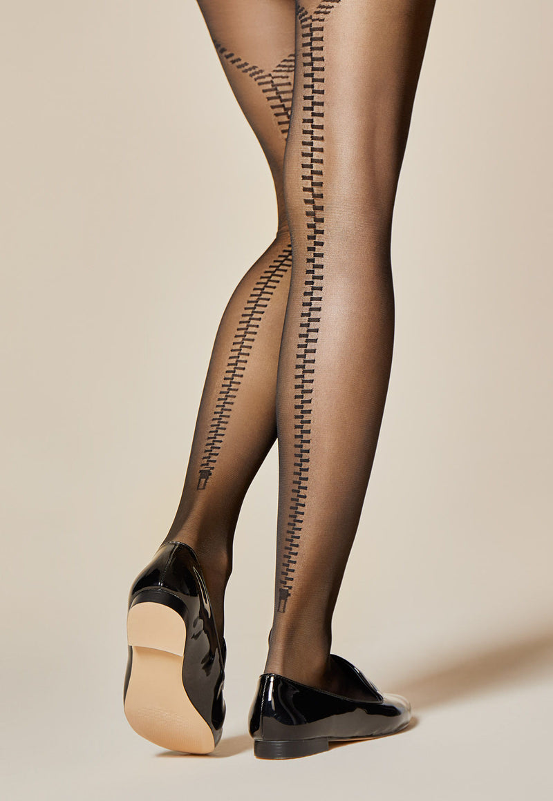 Fidele Zipped Back Seams Sheer Tights by Fiore