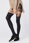 Finestra Mock Hold-Ups & Shorties Black Tights by Fiore