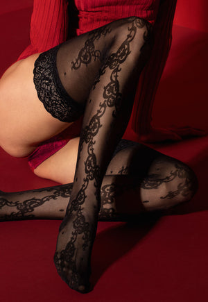 Francine 30 Denier Patterned Micronet Black Lace Hold-Ups by Fiore