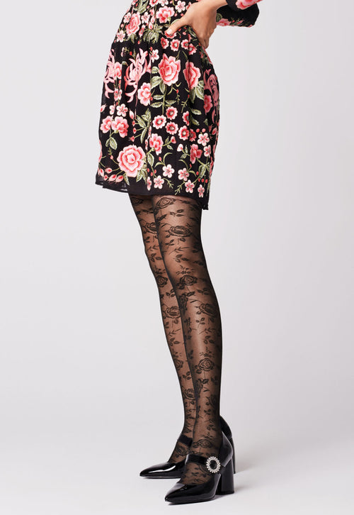 f79e997ca51 Frida Rose Patterned Lace Seamed Black Tights by Fiore