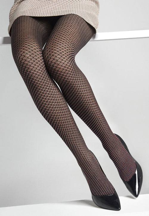 Flores Fishnet Patterned Lace Tights in rose black