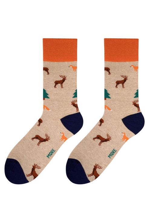 Forest Animals Patterned Socks in Beige by More
