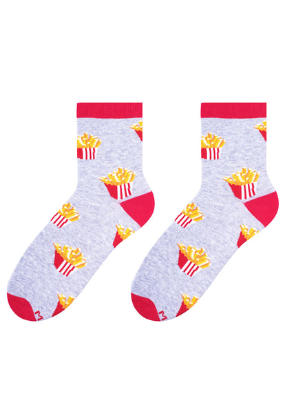 French Fries Patterned Socks in Grey by More