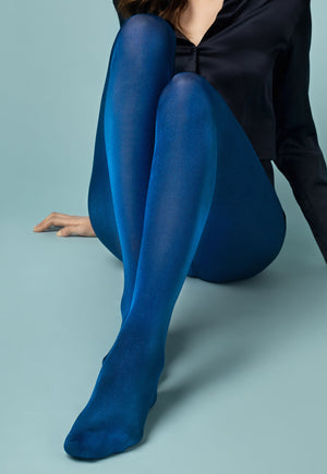 Glossy 70 Den Coloured Opaque 3D Tights by Fiore in cobalt blue