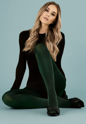 Glossy 70 Den Coloured Opaque 3D Tights by Fiore in dark green