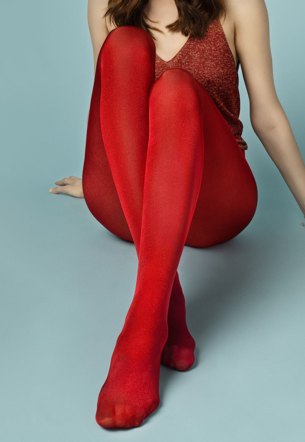 Glossy 70 Den Coloured Opaque 3D Tights by Fiore in red
