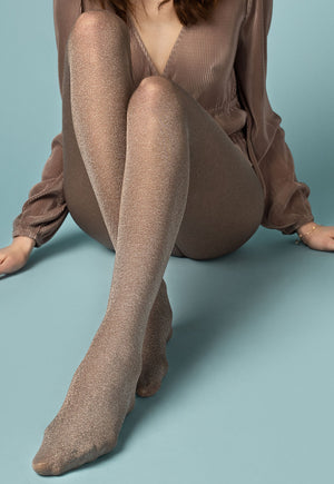 Gold Rush 60 Den Sparkly Opaque Tights by Fiore in gold beige