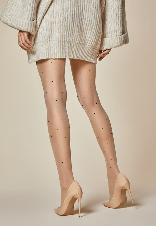 Gracile Spotty Polka Dot Patterned Sheer Tights by Fiore