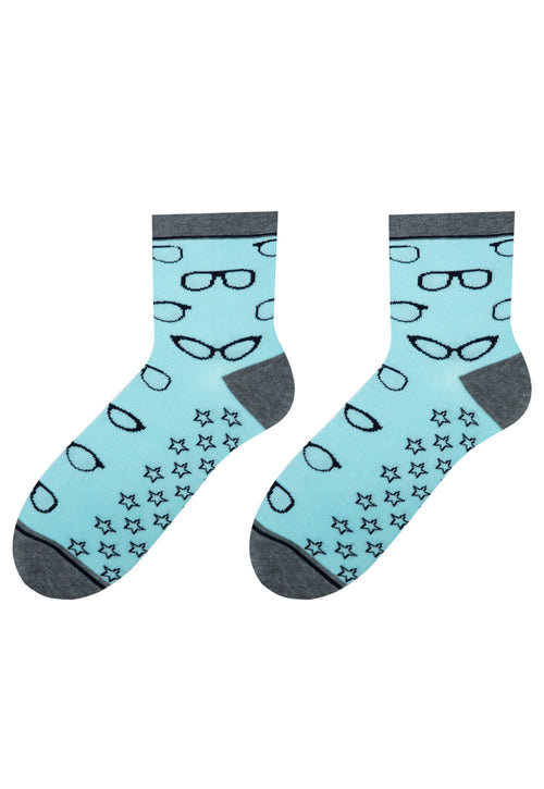 Glasses Patterned Socks in Light Turquoise by More