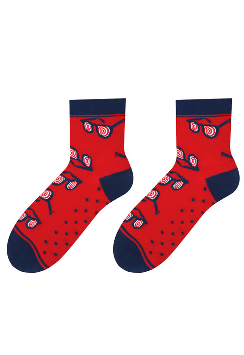 Glasses Patterned Socks in Red & Navy Blue by More