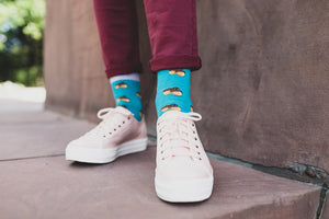 Acorns Patterned Socks in Turquoise by More