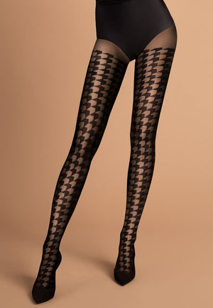 Impressa Houndstooth Patterned Sheer Tights by Fiore in black