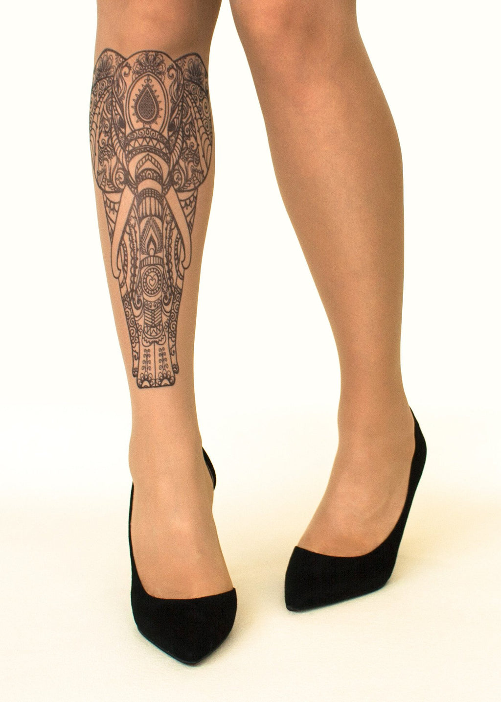 Indian Elephant Tattoo Printed Sheer Tights/Pantyhose