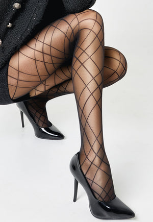 Intersection 01 Criss Cross Patterned Sheer Tights by Giulia in black
