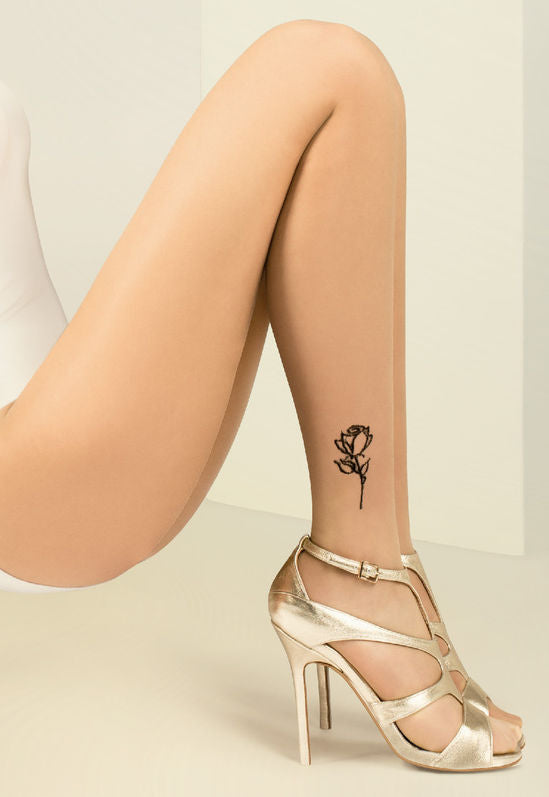 Jess Flower Ankle Tattoo Sheer Tights by Gabriella