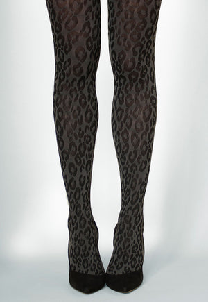 Jovanna Leopard Animal Print Tights in grey/black