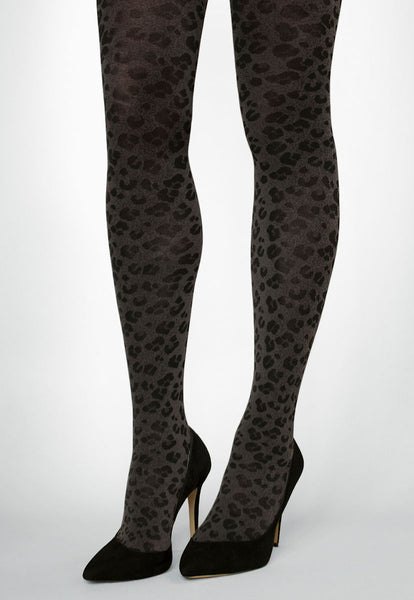 Justine Leopard Animal Print Tights in grey/black