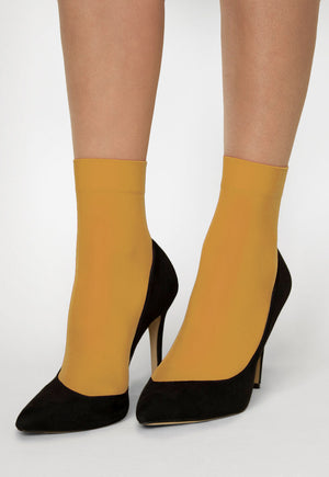 Katrin 40 Denier Opaque Ankle Socks in Limone Yellow