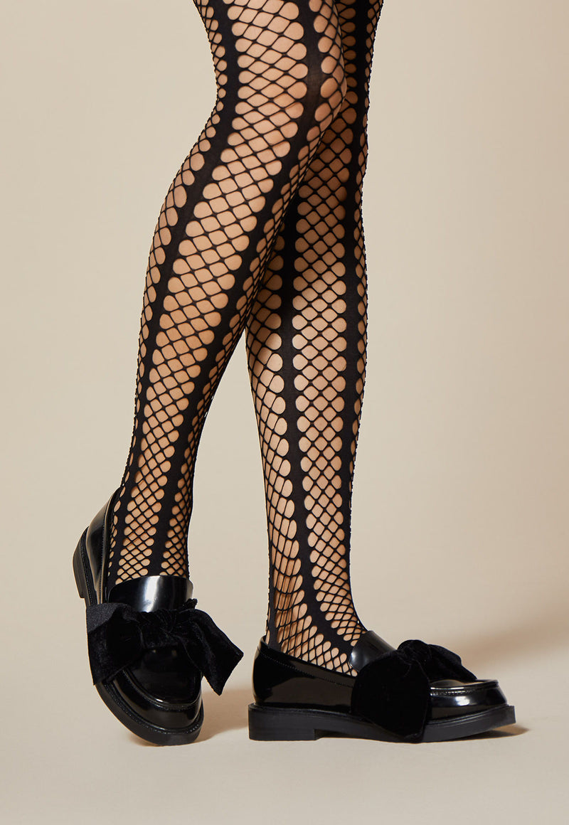 'Lady Rock' Black Whale Fishnet Striped Tights by Fiore