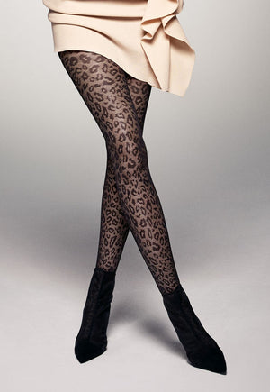 Leopardo Animal Patterned Black Lace Tights by Veneziana