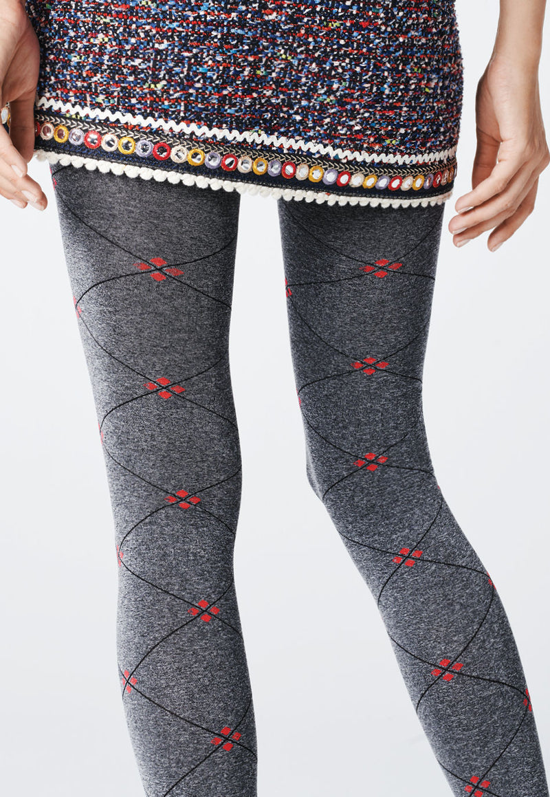 Libro Diamonds & Dots Patterned Opaque Tights by Fiore