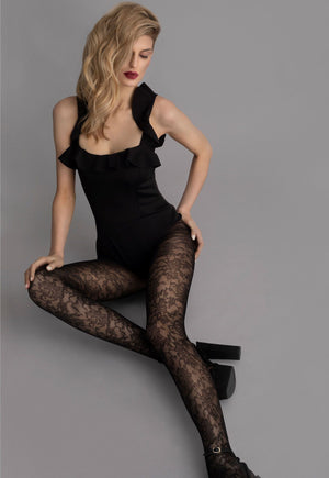 Lily-Rose Floral Patterned Lace Tights by Fiore