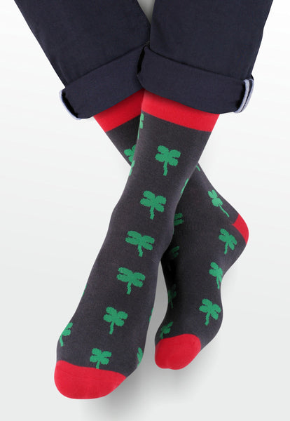 Lucky Shamrock Patterned Socks in Grey by More