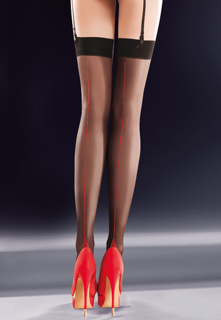 Lido Contrast Backseam Sheer Stockings in black/red