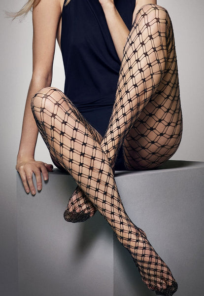 Lilly Lurex Double Whale Black Fishnet Tights