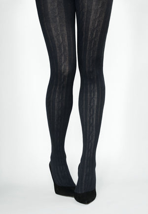 Linda Braided Ribbed Cable Tights by Veneziana in black