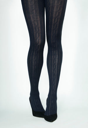Linda Braided Ribbed Cable Tights by Veneziana in marine navy blue