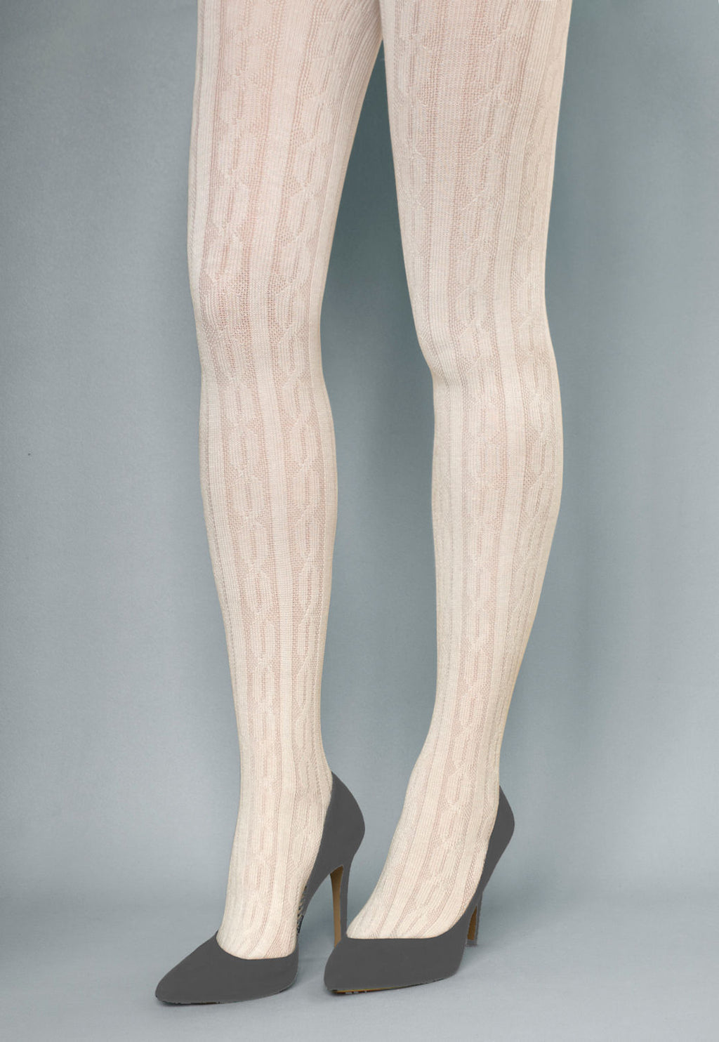 Linda Braided Ribbed Cable Tights by Veneziana in white ivory cream