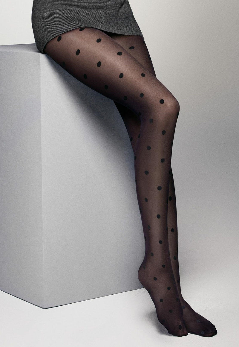 Lola Polka Dot Patterned Black Sheer Tights by Veneziana