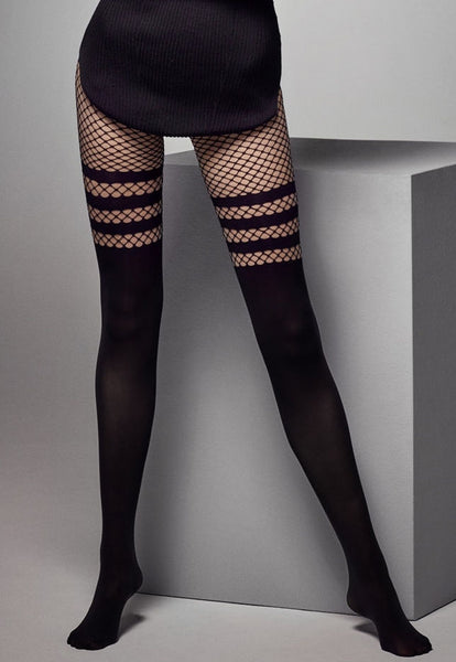 Luna Mock Hold-Ups Fishnet & Opaque Tights in Black