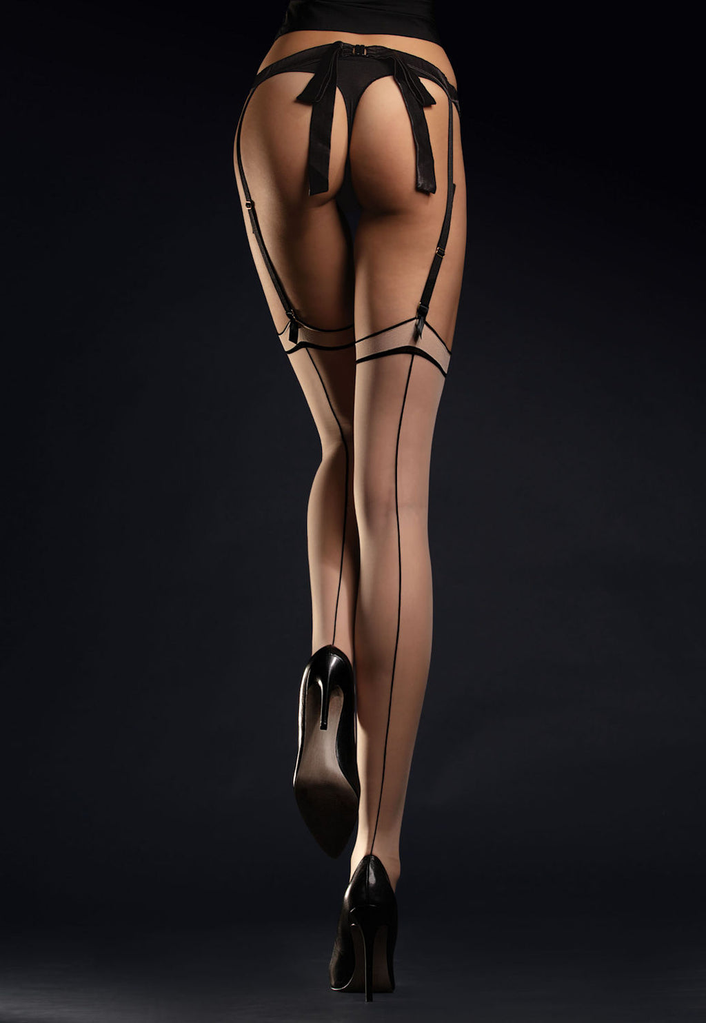 Madame 20 Den Contrast Seam Sheer Stockings by Fiore in nude black