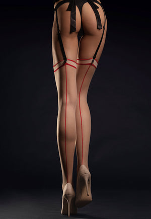 Madame 20 Den Contrast Seam Sheer Stockings by Fiore in nude red