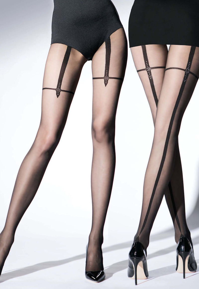 Magnetize Mock Garters Back Seam Tights by Knittex