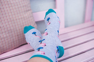Flamingo Patterned Socks in Grey by More
